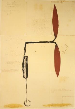 Avió hélix vermella sobre manuscrit